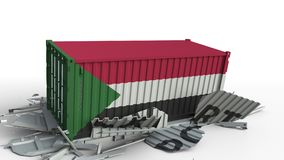 Envase con la bandera de Sudán que rompe el envase con el texto de la EXPORTACIÓN Animación conceptual 3D metrajes