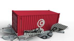Envase con la bandera de Túnez que rompe el envase con el texto de la EXPORTACIÓN Animación conceptual 3D almacen de metraje de vídeo