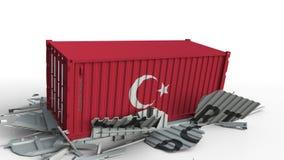 Envase con la bandera de Turquía que rompe el envase con el texto de la EXPORTACIÓN Animación conceptual 3D metrajes