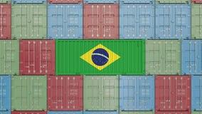 Envase con la bandera del Brasil Animaci?n relacionada brasile?a 3D de la importaci?n o de la exportaci?n stock de ilustración