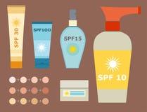 Envase cosmético del verano de la protección solar de la botella del vector del sunblock poner crema del icono Imagenes de archivo