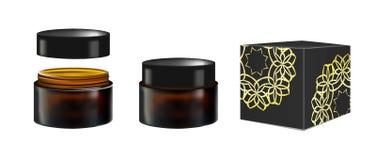 Envase cosmético realista en blanco para la crema de cara, polvo, gel, mascarilla Paquete aislado en el fondo blanco negro Stock de ilustración