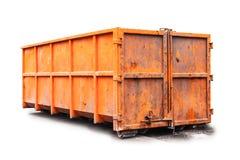 Envase de basura anaranjado aislado en blanco Fotografía de archivo