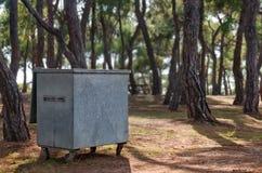 Envase de basura en bosque Imagenes de archivo