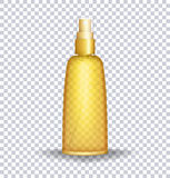 Envase de la loción de bloque de Sun Botella transparente del aceite del cuidado de Sun Ilustración del vector Foto de archivo