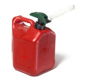 Envase de plástico de la gasolina del gas Imagenes de archivo