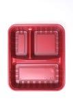 Envase de plástico rojo foto de archivo