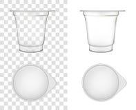 Envase de plástico transparente para la crema agria y la otra comida ilustración del vector