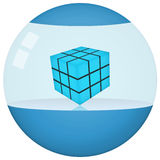 Envase de producto azul futurista de la esfera Imagenes de archivo