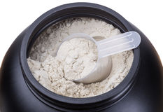 Envase de proteína de la leche Imágenes de archivo libres de regalías
