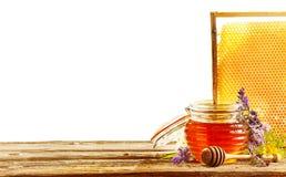 Envase formado colmena de miel con el panal Imagenes de archivo