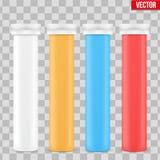 Envase plástico de la botella de la vitamina de la maqueta stock de ilustración