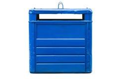 Envases azules de la basura aislados en un fondo blanco Imagen de archivo libre de regalías