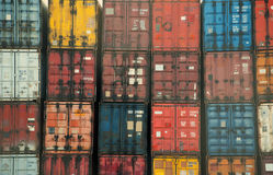 Envases coloridos Foto de archivo libre de regalías
