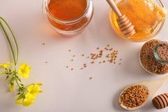 Envases con la opinión superior de la abeja del panal y del polen de la miel Fotos de archivo libres de regalías