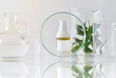 Envases cosméticos de la botella con las hojas herbarias verdes y la cristalería científica, foco en el paquete en blanco de la e imagenes de archivo