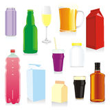 Envases de bebidas aislados Fotografía de archivo