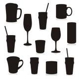 Envases de bebidas aislados de las siluetas Imagenes de archivo