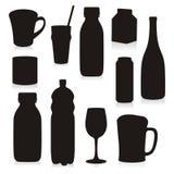 Envases de bebidas aislados de las siluetas Foto de archivo