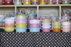 Envases de comida coloridos Imágenes de archivo libres de regalías