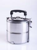 envases de los envases de comida o de comida del acero inoxidable en un backgrou Imagen de archivo libre de regalías