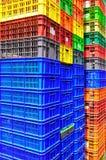 Envases de plástico coloridos Foto de archivo libre de regalías