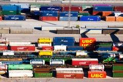 Envases en el puerto franco de Barcelona Fotografía de archivo