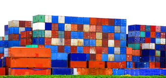 Envases grandes del metal en el puerto de Rotterdam Imágenes de archivo libres de regalías