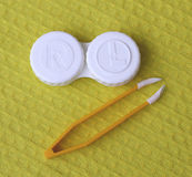 Envases para las lentes de contacto Fotografía de archivo libre de regalías