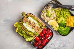 Envases sanos de la preparación de la comida con el bocadillo del queso Feta con las frutas, azufaifas Foto de archivo
