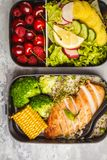 Envases sanos de la preparación de la comida con el pollo asado a la parrilla con las frutas, b Imágenes de archivo libres de regalías