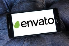 Envato company logo. Logo of Envato company on samsung mobile. Envato operates a group of digital marketplaces that sell creative assets for web designers Royalty Free Stock Images