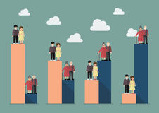 Envejecimiento de la población con tendencia del trabajador libre illustration