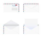 Envelop in 4 stadia over witte achtergrond vector illustratie