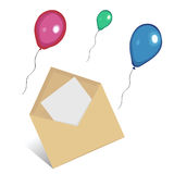Envelop and balloons Stock Photo