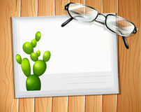 Envelop. With a cactus design and a pair of eyeglasses on it stock illustration