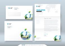 Envelop DL, C5, Briefhoofd Collectief bedrijfsmalplaatje voor envelop en brief Lay-out met moderne gekleurde vlekken stock illustratie