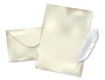 Envelop, document en pen stock illustratie