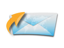 Envelop or e-mail icon. An envelop with world map. Could also be used as e-mail icon Stock Photo