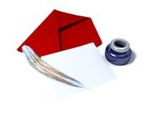 Envelop en leeg blad van document Stock Foto