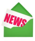 Envelop en nieuwsnota stock afbeelding