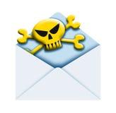 Envelop en schedel Stock Afbeeldingen