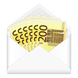 Envelop en twee honderd euro bankbiljetten Royalty-vrije Stock Fotografie
