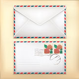 Envelop Front & Back with Stamp. Royalty Free Stock Image
