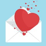 Envelop with hearts. Envelope with heart. greeting cards for Valentines Day, a wedding, girlfriend or boyfriend. Notice of tender feelings. Flat vector cartoon Royalty Free Stock Photos
