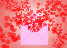 Envelop with hearts. Pink Envelop with hearts  flying out for valentine's day Royalty Free Stock Photo