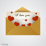 Envelop with letter and hearts. Stock Photo