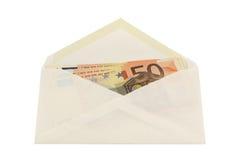 Envelop met 50 euro nota's Royalty-vrije Stock Afbeeldingen