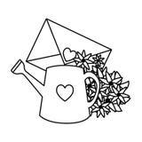 Envelop met hart en bloemen royalty-vrije illustratie