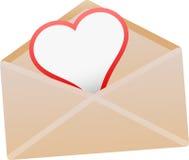 Envelop met liefdekaart -   Stock Afbeelding